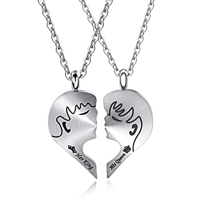 fa1b82f8a6b56 Iflytree 2Pcs Matching Heart Puzzle Piece Chain His Queen Her King ...