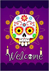 Morigins Welcome Home Sugar Skulls Garden Flag Double Sided 12.5 x 18 Inch Decorative Colorful Halloween Skull Outdoor Yard Flag