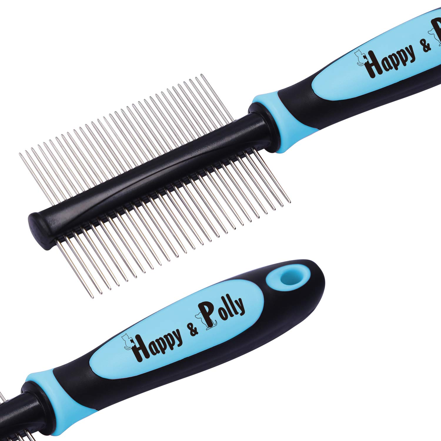 Knots and Tangles for Dogs Cats with Long Short Hair Happy /& Polly Pet Comb Grooming Brush Stainless Steel Deshedding Comb//Deshedding Brush//Dematting Rake Removing Pets Matted Fur