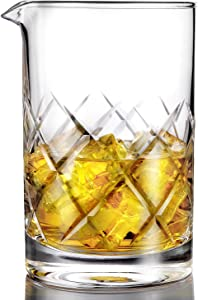 Professional Cocktail Mixing Glass - Thick Bottom Seamless Lead Free Crystal Mixing Glass 24oz (700ml)