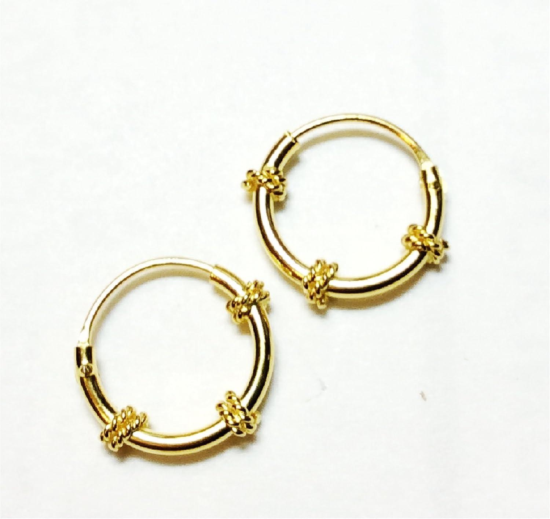 Amazon Com 18k Gold Filled Hoop Earrings Exclusive Bali Tribal