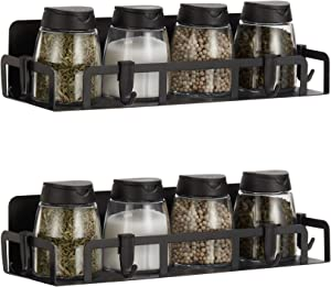 Befano Magnetic Spice Rack with 8 Removable Hooks Rust-proof Magnetic Shelf for Refrigerator Kitchen Space Save, 2 Pack Black