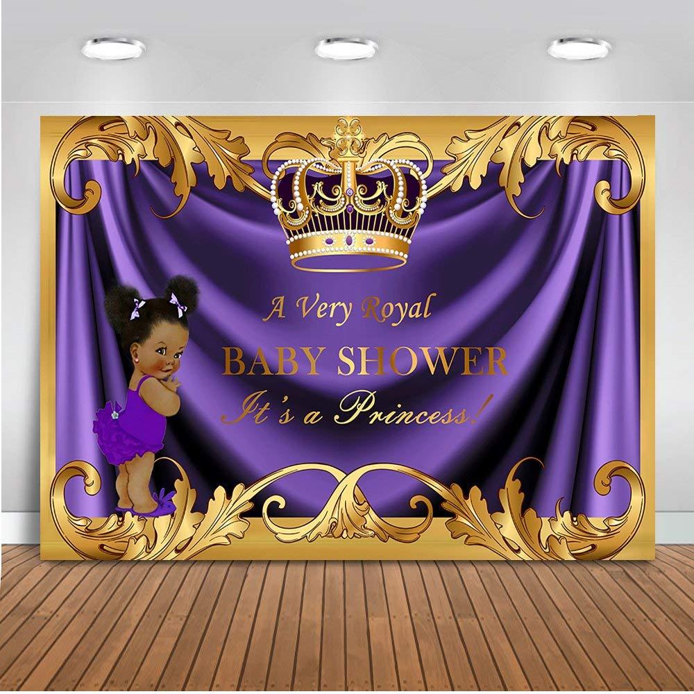 Mehofoto Baby Shower Backdrop Royal Little Princess Purple Crown Photography Background 7x5ft Vinyl Royal Purple Gold Baby Shower Party Banner Backdrops by Mehofoto