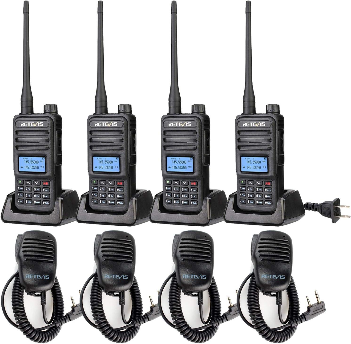 Retevis RT85 Dual Band 2 Way Radios,Adults Walkie Talkies Long Range,High Power Two Way Radios,VOX Remote Stun ANI Handheld Speaker Mic(4 Pack)