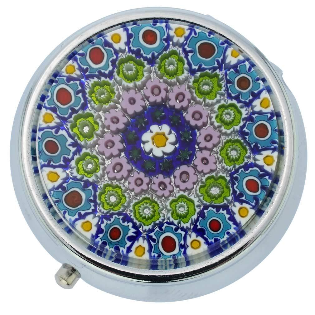 glassofvenice Murano Glas klein Millefiori Pillendose –  Silber rund Murano Glass