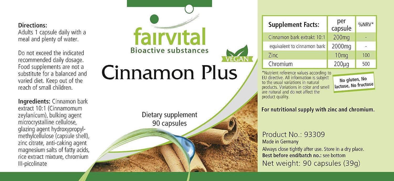 Cinnamon Plus - Bote para 3 meses - VEGANO - Alta dosificación - 90 cápsulas - extracto de canela con cromo y zinc: Amazon.es: Salud y cuidado personal