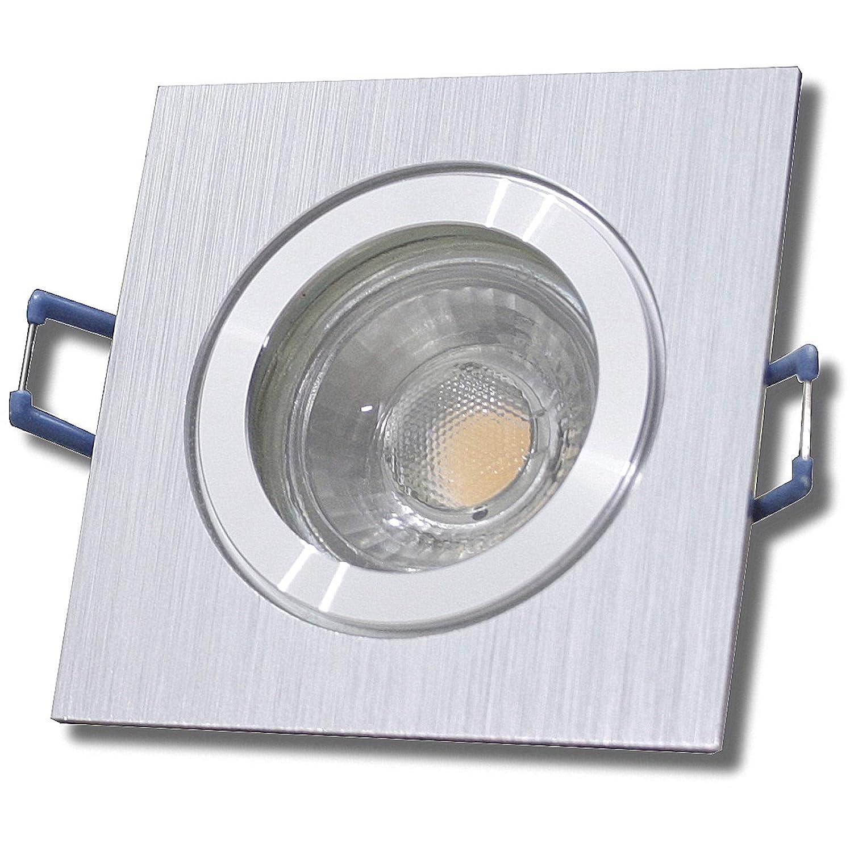 4 Stück IP44 MCOB Modul Bad Einbaustrahler Neptun 230 Volt 5 Watt Eckig BiFarbe Warmweiß