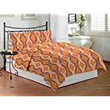 Bombay Dyeing Festiva Cotton Double Bedsheet with 2 Pillow Covers - Orange