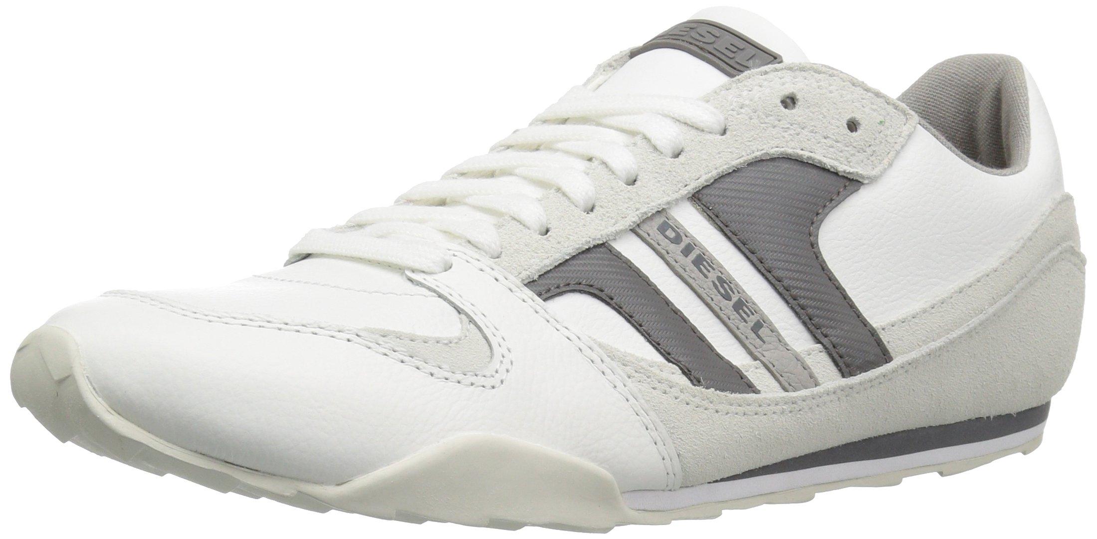 Diesel Men's Gunner Fashion Sneaker,White/Charcoal Grey,9.5 M US