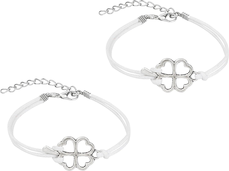 Penny /& Piper Lot de 2 bracelets damiti/é assortis pour enfants avec cordon en similicuir doux