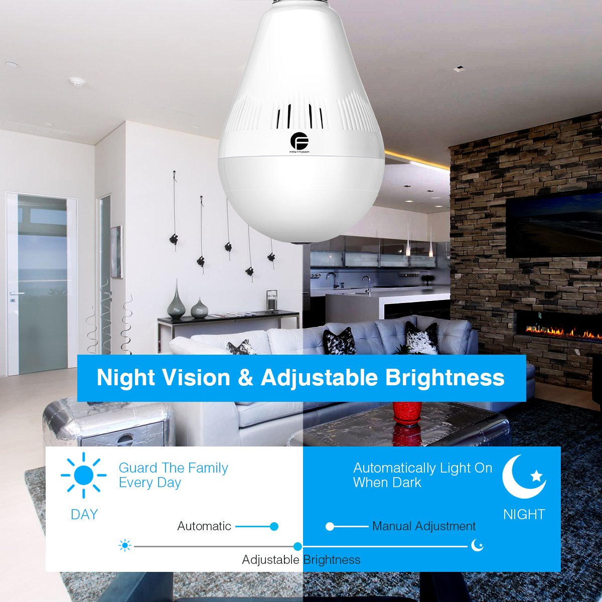 Wireless Security Bulb Camera, FirstPower 960P Home Security Surveillance Camera 360 Panoramic IP Camera with Night Vision Two Way Talking Motion Detection for Android IOS Phone by FirstPower (Image #4)