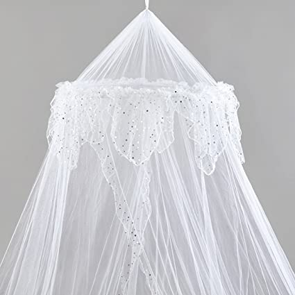 Amazon.com Home and More Store Princess Bed Canopy - Beautiful Silver Sequined Childrens Bed Canopy in White - Single Bed Kitchen u0026 Dining  sc 1 st  Amazon.com & Amazon.com: Home and More Store Princess Bed Canopy - Beautiful ...
