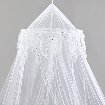 Amazon.com: Princess Bed Canopy - Beautiful Silver Sequined ...