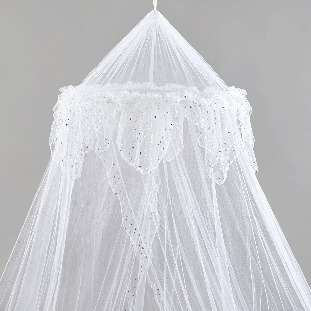 Home and More Store Princess Bed Canopy - Beautiful Silver Sequined Childrens Bed Canopy in White - Single Bed