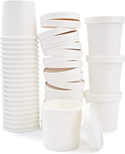 50 Pack 12 oz Disposable Soup Containers with Lids, Take Out Cups for Hot or Cold Food To Go, White
