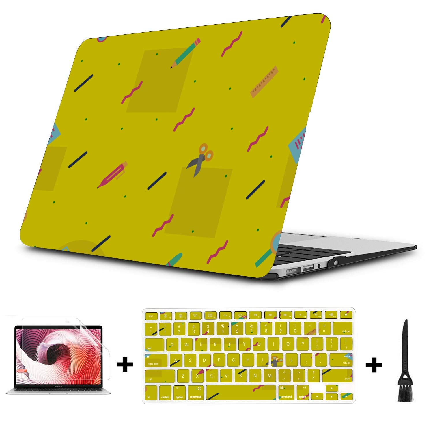 Laptop Case 13 Inch School Supplies Cute Stationery Bag Plastic Hard Shell Compatible Mac Air 11 Pro 13 15 Laptop Case 13 Inch Protection for MacBook 2016-2019 Version