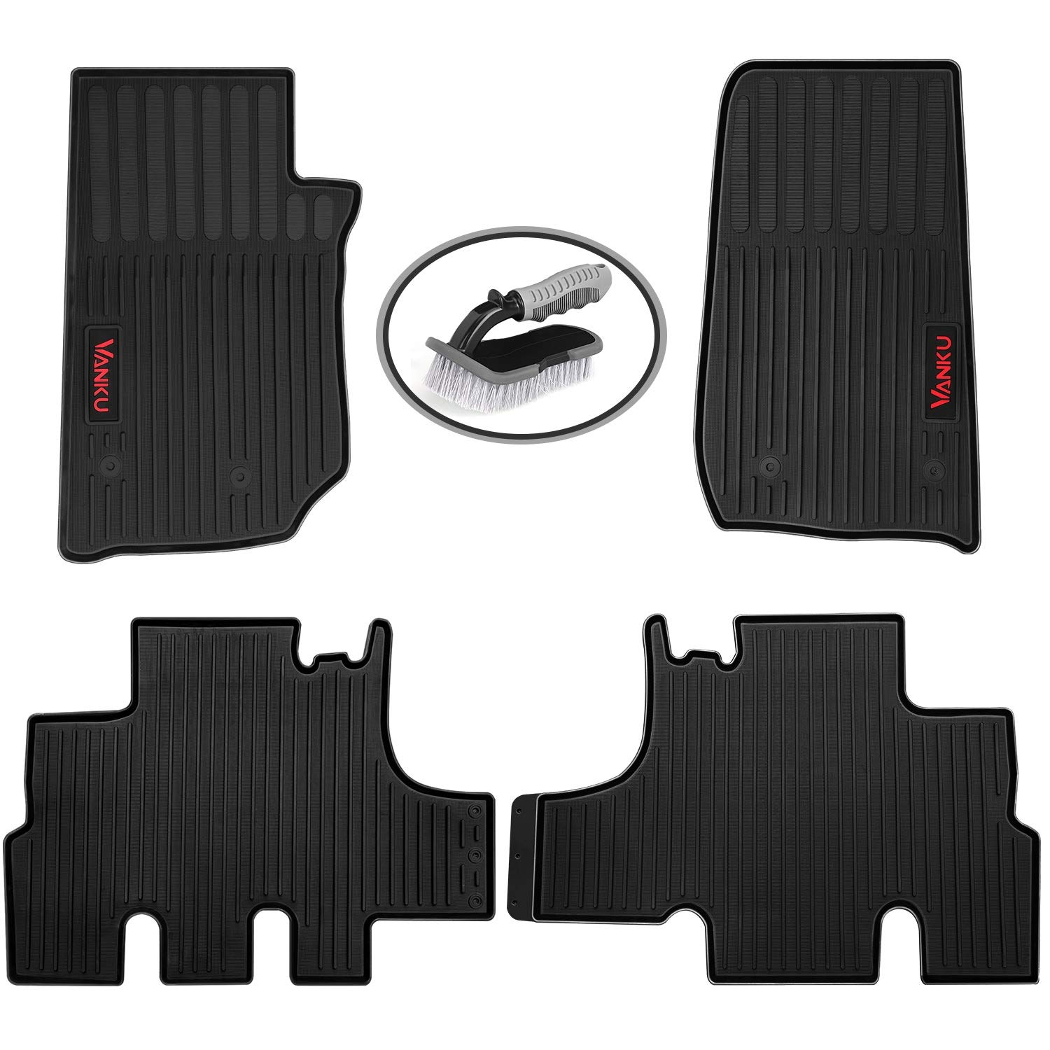 All Weather Floor Liners Full Set 5 Pieces Heavy Duty Truck Mats 2014 2015 Free Brush Included 2012 Vanku Car Floor Mats Fit Jeep Grand Cherokee 2011 2013