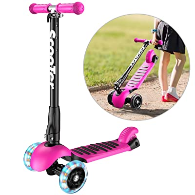 Banne Scooter Height Adjustable Lean to Steer Flashing PU Wheels 3 Wheel Kick Scooters for Kids Boys Girls (Pink) : Sports & Outdoors