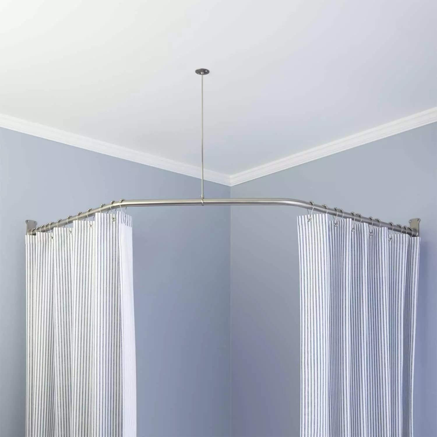 Naiture Stainless Steel 18-1/2'' X 26'' X 18-1/2'' Neo-Angle Shower Curtain Rod with Ceiling Support, Brushed Nickel Finish