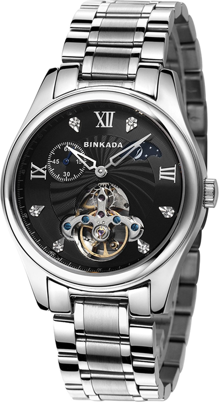 BINKADA自動機械ビジネスカジュアルメンズ腕時計Best for誕生日父の日ギフト Stainless Steel-Black Dial B015EBULEO Stainless Steel-Black Dial Stainless Steel-Black Dial
