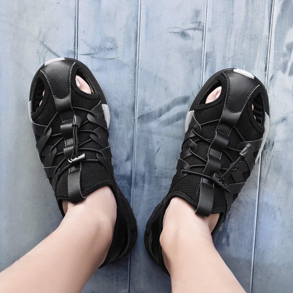 Männer Sandalen Sommer im Freien Frühling und Sommer Sandalen Baotou Atmungsaktiv zu Fuß Weicher Boden Rutschfeste Bewegung Casual Beach Schuhe aus Echtem Leder Tooling Lederschuhe Hausschuhe - 21350a