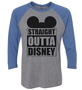 "401faf946 Funny Threadz Mens Or Womens Disney Baseball Tee - ""Straight Outta Disney"" Mickey  Mouse"
