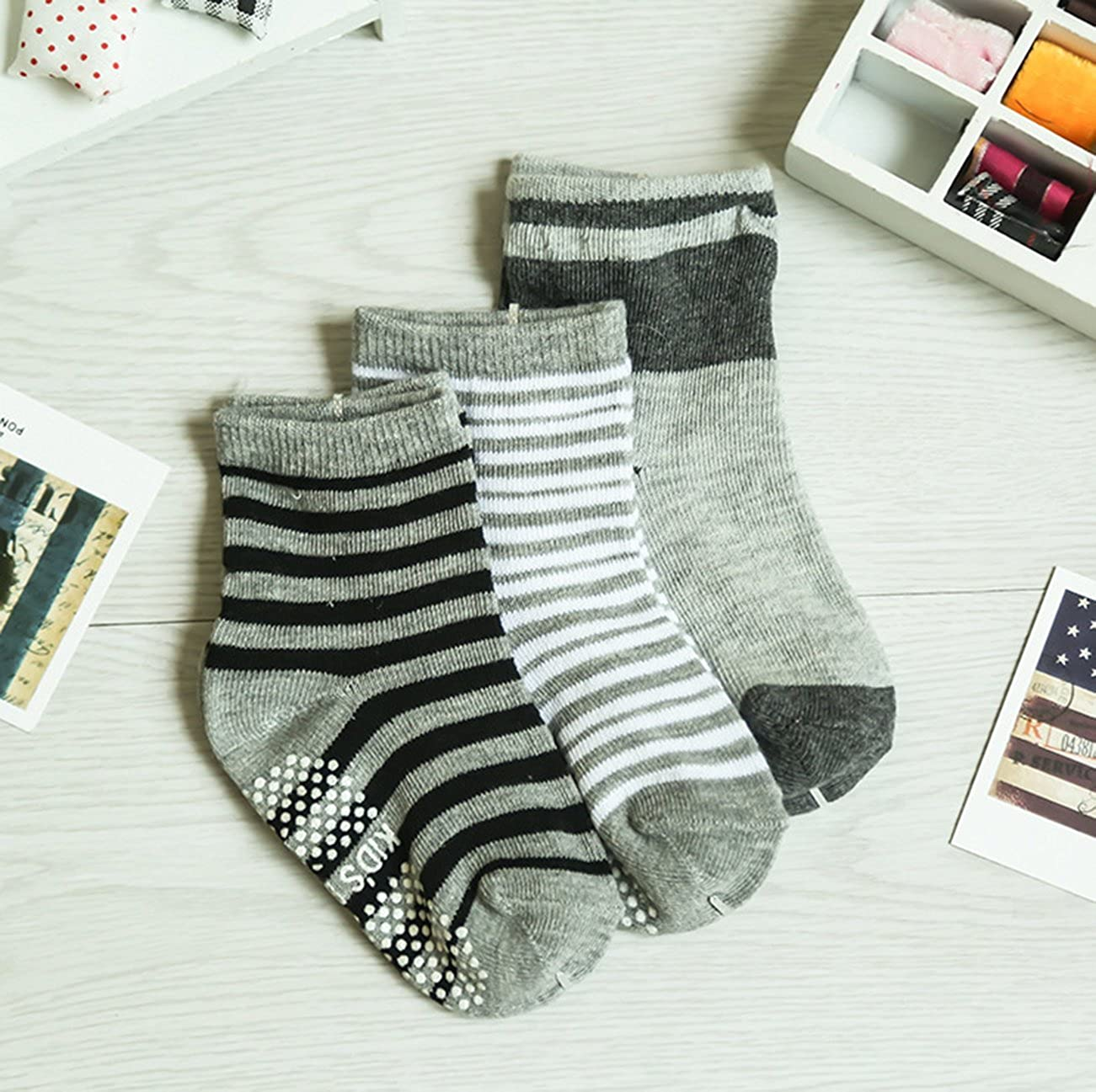 12 Colors 12 Pairs 1-3 Years Toddler Baby Anti Slip Soft Cotton Socks Stretch Knit Stripes Star Crew Socks