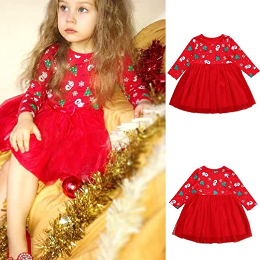 pollyhb toddler baby girls long sleeve cartoon snowman print dress christmas clothes 12 24
