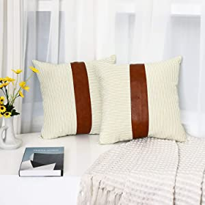 Tiaronics Decorative Throw Pillow Case Faux Stripe Faux Leather Cushion Cover for Sofa Couch Bed Boho Modern Decor Pillow 18x18 inch (2PK Khaki)
