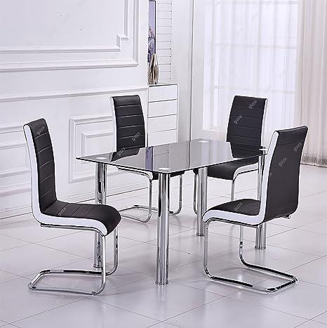 Moderna in vetro temperato nero set di tavolo e 4 sedie per sala da ...
