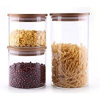 ComSaf Glass Storage Jars Set of 3-500/600/1200ML, BPA Free High Borosilicate Glass Cookies Jar with Bamboo Lid…
