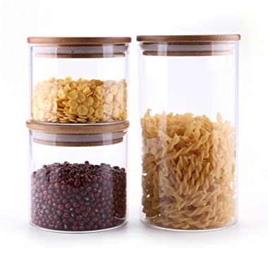 ComSaf Airtight Canisters for Bulk Food Storage Set of 3-17/22/43oz, BPA Free High Borosilicate Glass Cookies Jar with Bamboo Lid, Cylinder Cereal Container with Sealing