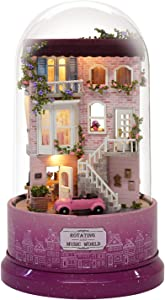 Spilay DIY Miniature Dollhouse Wooden Furniture Kit,Handmade Mini Rotating and Music World Model with Glass Cover & Music Box ,1:24 Scale Creative Doll House Toys for Children Girl Gift(Meet Corner)