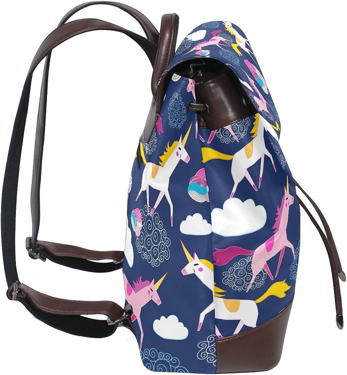imobaby Fashion Beautiful Rainbow Unicorn PU Leather Women Girls Ladies Backpack Travel bag,Multi085