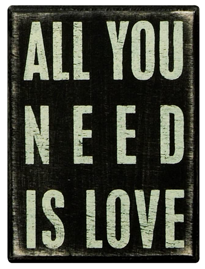 Primitives by Kathy Classic Box Sign 3 x 4-Inches All You Need Is Love 16346