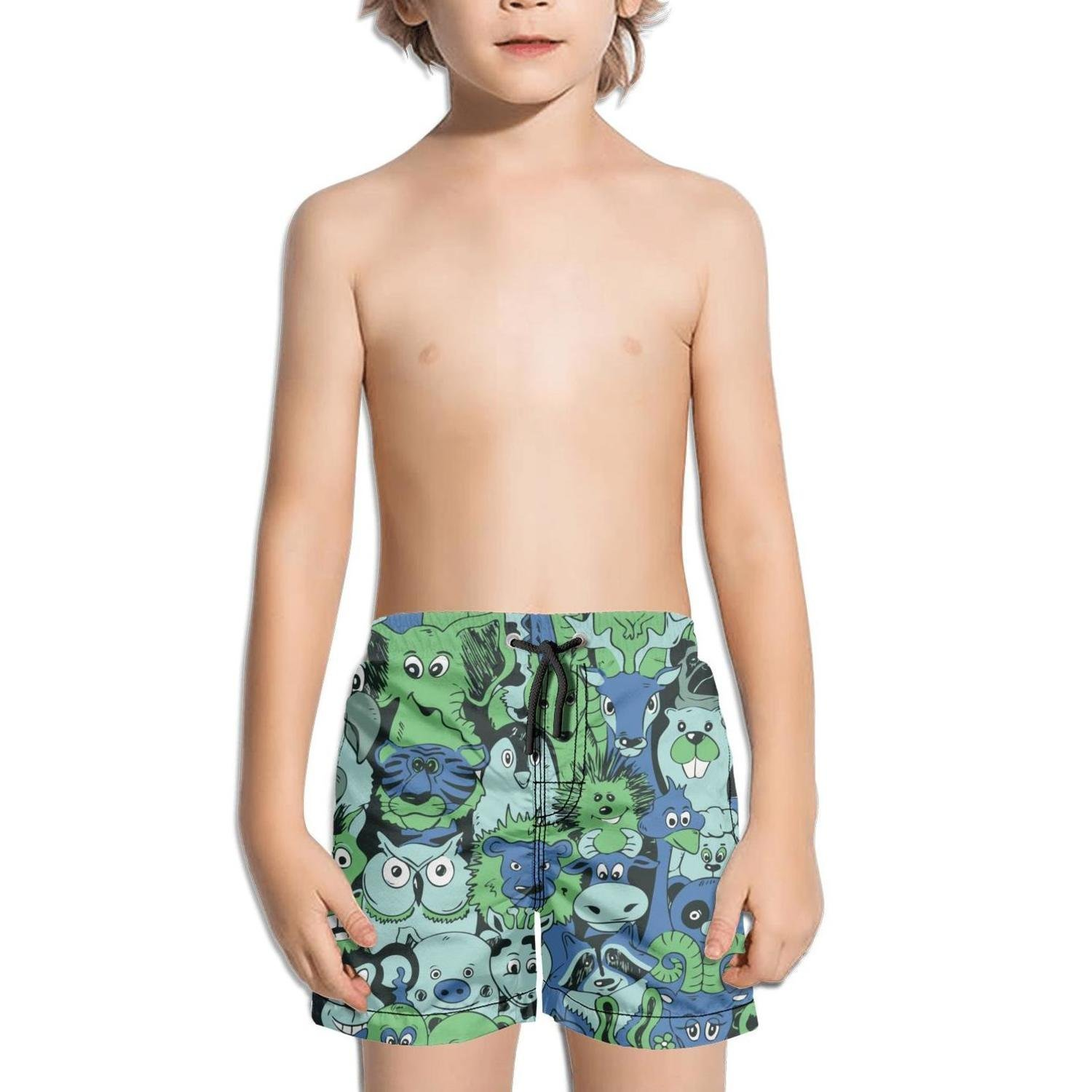 Ouxioaz Boys Swim Trunk Colorful Animals Lion Hedgehog Beach Board Shorts