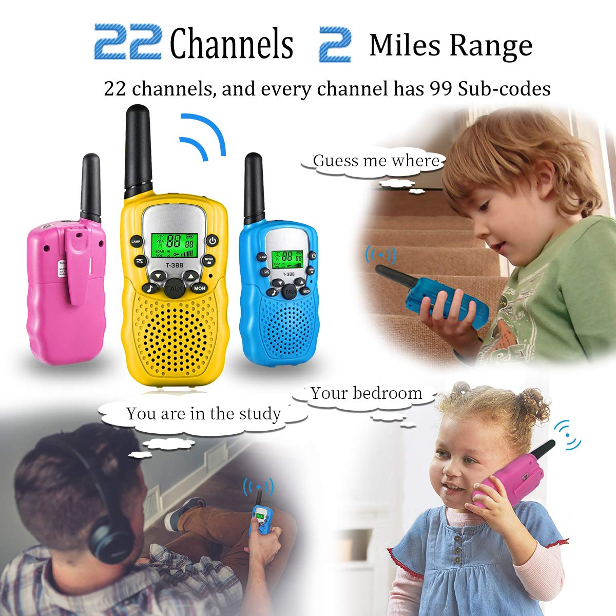Outdoor Toys for 5-10 Year Old Boys Girls Pussan Kids Walkie Talkies 3 Pack Long Range 2 Miles 22 Channels Kids Camping Outside Summer Games Walky Talky for Children Gifts by Pussan (Image #3)