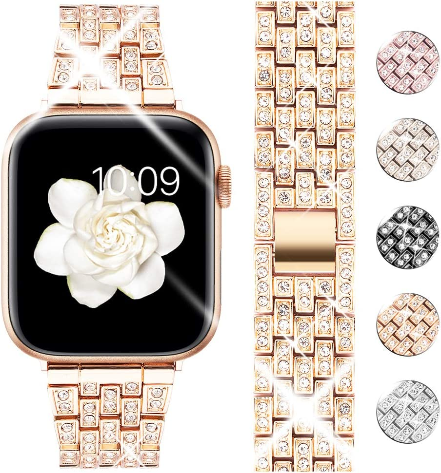 Goton Bling Band Compatible for Apple Watch Band 40mm 38mm , Women Luxury Diamond Bling Crystal Stainless Metal Replacement Strap for iWatch Band Series 6 5 4 3 2 1 (Rosegold - 40mm 38mm)