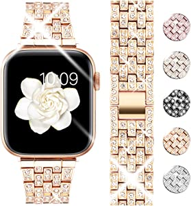 Goton Bling Band Compatible for Apple Watch Band 44mm 42mm , Women Luxury Diamond Bling Crystal Stainless Metal Replacement Strap for iWatch Band Series 6 5 4 3 2 1 (Rosegold - 44mm 42mm)
