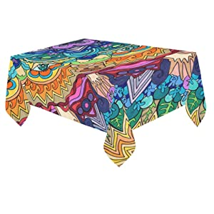 Unique Debora Custom Tablecloth Cover Cotton Linen Cloth Mandala Pattern For Dining Room, Tea Table, Picnics, Parties DT-15