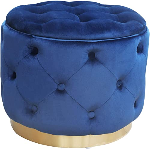 GOLDSUN Deluxe Storage Ottoman Round Velvet Tufted Footrest Stool