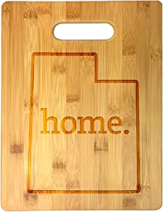 Home State Utah Outline USA United States Laser Engraved Bamboo Cutting Board - Wedding, Housewarming, Anniversary, Birthday, Father's Day, Gift (Utah)