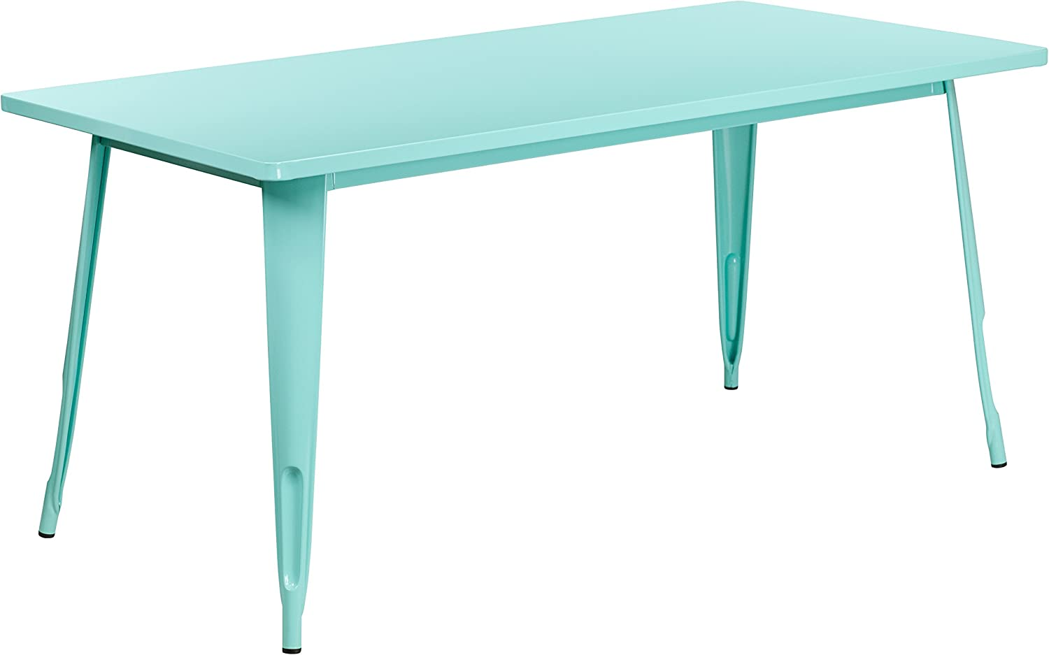 Flash Furniture 31.5'' x 63'' Rectangular Mint Green Metal Indoor-Outdoor Table