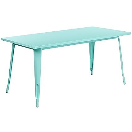 Amazon Com Flash Furniture 31 5 X 63 Rectangular Mint Green