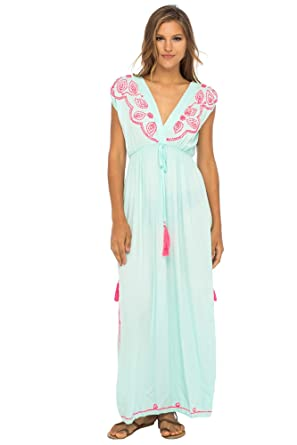 e875509098ea Back From Bali Womens Long Maxi Dress Boho Embroidered Sleeveless Summer  Sundress Deep V Neck Aqua