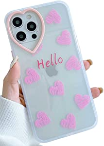 KERZZIL Cute Love-Hearts Pattern iPhone 12 Pro Max Case Clear for Women Girls, Slim Soft TPU Silicone Shockproof Protective Cases Cover Compatible with Apple iPhone 12 Pro Max 6.7-inch(Pink)