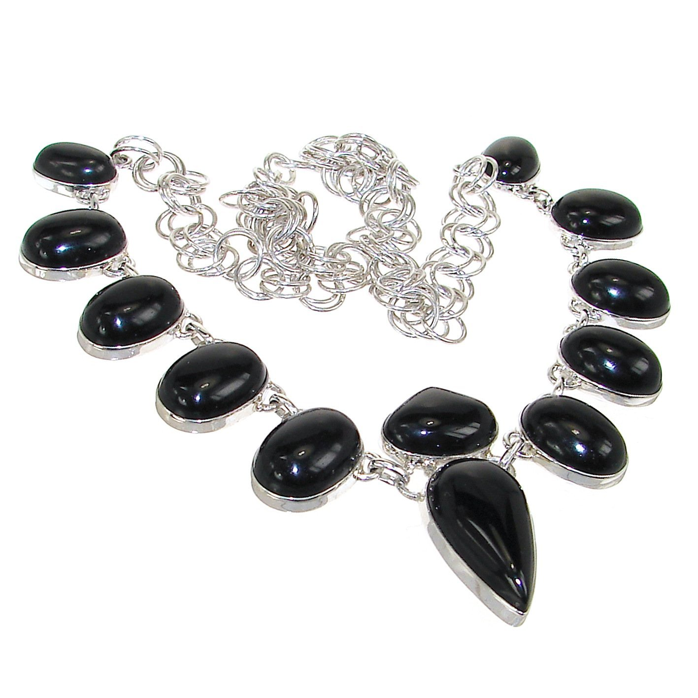Elegant Onyx Sterling Silver Necklace 17 inches long