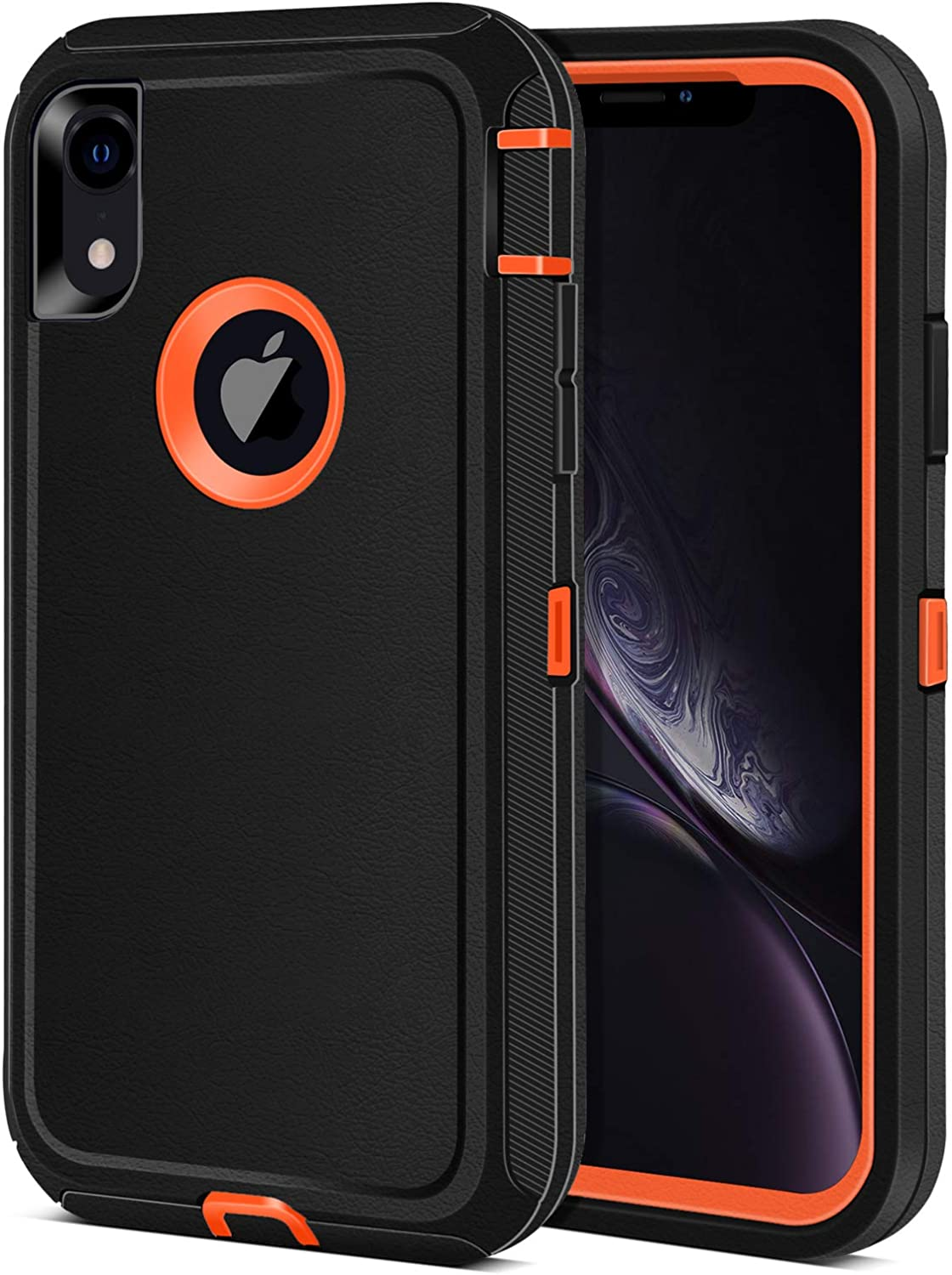 iPhone XR Case, Jiunai 3-Piece Heavy Duty Shockproof Rugged Drop Protection Dual Layer Armor Matte Cover Case ONLY Compatible with iPhone XR 10 R 2018 6.1'' Black Orange