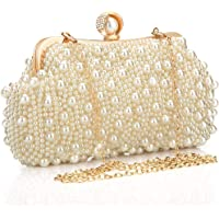 Veyiina Nero Women's Clutches Pearl Handbag Silver Evening Bag Purse for Party, Bridal, Casual, Wedding