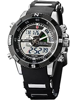 Shark Mens Sport Wrist Watch Dual Time LCD Alarm Chronograph White Dial